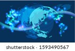 cyber digital earth and world ... | Shutterstock . vector #1593490567
