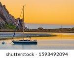 Sailboat At Sunset  Morro Bay ...
