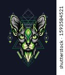 green sphinx cat with geometric ...   Shutterstock .eps vector #1593584521