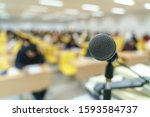 microphone at lecture room or... | Shutterstock . vector #1593584737
