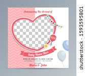 birth announcement template... | Shutterstock .eps vector #1593595801