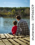 father and son fishing   Shutterstock . vector #159366329