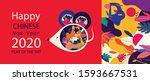 happy new year 2020 vector logo ... | Shutterstock .eps vector #1593667531