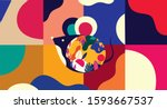 happy new year 2020 vector logo ... | Shutterstock .eps vector #1593667537