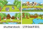 background scenes of animals in ... | Shutterstock .eps vector #1593669301
