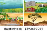 four different scenes of nature ... | Shutterstock .eps vector #1593693064