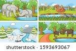 background scenes of animals in ... | Shutterstock .eps vector #1593693067