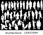 black and white people | Shutterstock .eps vector #15937099