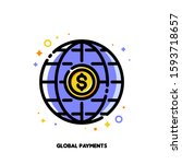 icon of global payment system... | Shutterstock .eps vector #1593718657