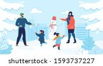 mom and dad with kids enjoy... | Shutterstock . vector #1593737227
