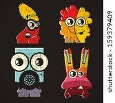 set of four monsters on retro...   Shutterstock .eps vector #159379409