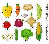 set of cute vegetables... | Shutterstock .eps vector #1593801367