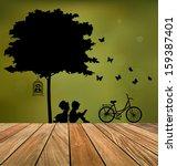 vector decorative wall stickers ... | Shutterstock .eps vector #159387401