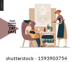 cat cafe  small business... | Shutterstock .eps vector #1593903754