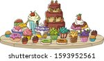 cartoon table with desserts.... | Shutterstock .eps vector #1593952561