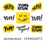 Yum Yum words set. Printable graphic tee. Design doodle for print. Vector illustration. Colorful. Cartoon hand drawn calligraphy style. Yellow Black and white
