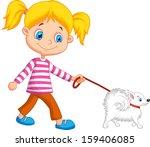 Cute Girl Walking With Dog