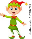 cute christmas elf presenting | Shutterstock .eps vector #159407201