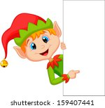 cute christmas elf pointing | Shutterstock .eps vector #159407441