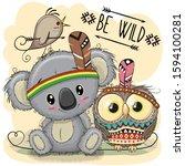 cute cartoon tribal koala and...   Shutterstock . vector #1594100281