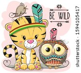 cute cartoon tribal tiger and... | Shutterstock . vector #1594105417