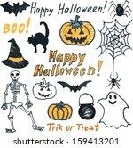 childish doodle halloween set | Shutterstock . vector #159413201