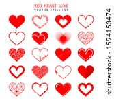 big set of various bright red... | Shutterstock .eps vector #1594153474