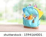 school backpack with... | Shutterstock . vector #1594164001