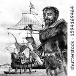 Conquistadors and travelers series . Hernandez de Cordoba, Francisco (explorer of Yucatan) Spanish conquistador.
