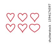 set of red hearts icons. love... | Shutterstock .eps vector #1594174597