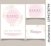 wedding invitation card set... | Shutterstock .eps vector #1594178794