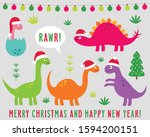 cute cartoon dinosaurs in santa ... | Shutterstock .eps vector #1594200151