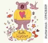 funny koala bear in sweater... | Shutterstock .eps vector #159428309