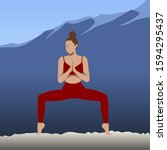 slim woman practice yoga on... | Shutterstock .eps vector #1594295437