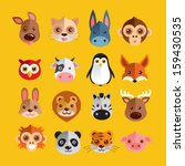 funny animal heads vector... | Shutterstock .eps vector #159430535