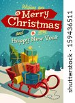 open sleigh with bunch of gifts.... | Shutterstock .eps vector #159436511