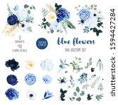 classic blue  white rose  white ... | Shutterstock .eps vector #1594427284