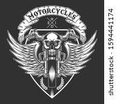 custom motorcycles badge vector ... | Shutterstock .eps vector #1594441174