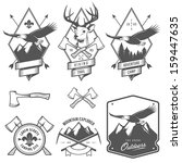 Vintage hiking and camping labels, badges and design elements