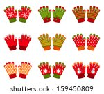 set of winter gloves | Shutterstock .eps vector #159450809
