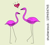 pattern with a pink flamingo | Shutterstock .eps vector #159454745