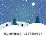 winter snowdrifts and forest... | Shutterstock .eps vector #1594569937