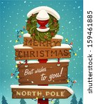 snow covered wooden sign. merry ... | Shutterstock .eps vector #159461885