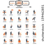 set of businessman icons orange ...