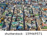 Rooftops in Busan, South Korea. - stock photo
