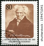 Small photo of GERMANY - CIRCA 1988: A stamp printed in Germany shows Arthur Schopenhauer (1788-1860), philosopher, circa 1988