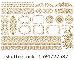 vintage ornament set. metallic... | Shutterstock . vector #1594727587