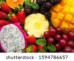 fresh mixed fruits  tropical... | Shutterstock . vector #1594786657