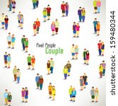 a large group of couples gather ... | Shutterstock .eps vector #159480344