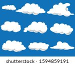 set of clouds with blue sky... | Shutterstock .eps vector #1594859191